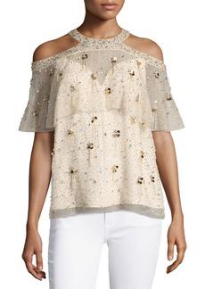 Elie Tahari Genevieve Embellished Silk Popover Blouse