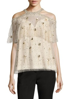 Elie Tahari Genevieve Silk Cold Shoulder Blouse