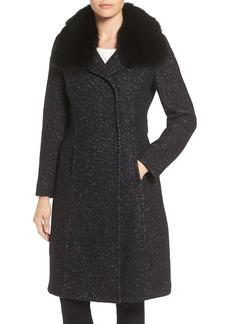 Elie Tahari Genuine Raccoon Fur Collar Coat