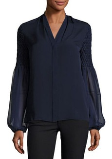 Elie Tahari Georgia Smocked Long-Sleeve Silk Blouse