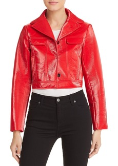 Elie Tahari Gigi Cropped Faux Patent Leather Jacket