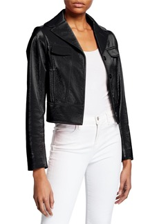 Elie Tahari Gigi Faux Leather Button-Front Cropped Moto Jacket