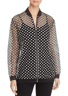 Elie Tahari Gilana Embroidered Bomber Jacket
