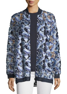Elie Tahari Gilana Floral-Net Long-Sleeve Jacket