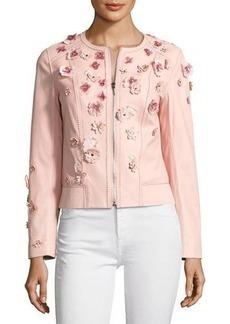 Elie Tahari Glenna Leather Moto Jacket w/ Floral Appliqué