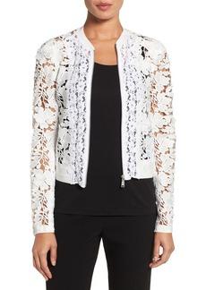 Elie Tahari 'Glenna' Mixed Lace Zip Front Jacket