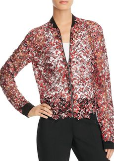 Elie Tahari Glenna Sheer Floral Lace Bomber Jacket - 100% Exclusive