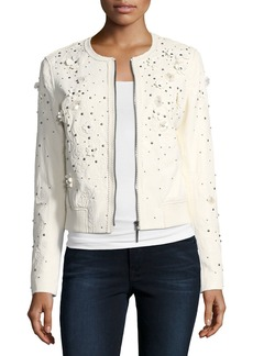 Elie Tahari Glenna Studded Flower Applique Leather Jacket
