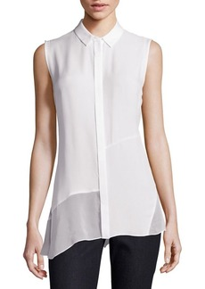 Elie Tahari Gracelynn Silk Sheer Panel Blouse
