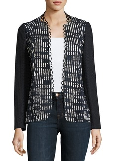 Elie Tahari Greer Lace-Trim Textured Jacket