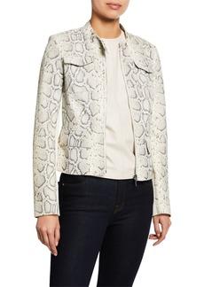 Elie Tahari Gwen Zip-Front Snake-Print Lambskin Leather Jacket
