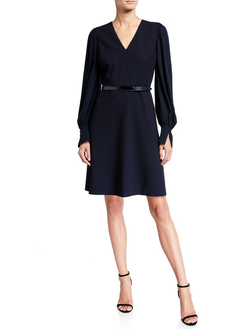 Elie Tahari Hale V-Neck Long-Sleeve Belted Dress