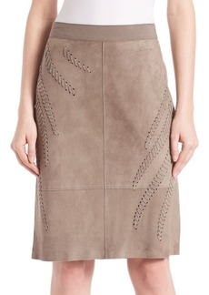 Elie Tahari Haley Suede Whip Stitch Skirt