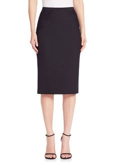 Elie Tahari Harla Floral Lace Trimmed Pencil Skirt