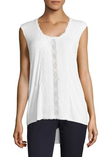 Elie Tahari Harley Lace-Trim Knit Tank Top
