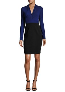 Elie Tahari Heather Long-Sleeve Two-Tone Sheath Dress