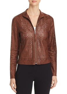 Elie Tahari Highline Laser-Cut Leather Jacket