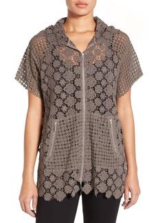 Elie Tahari Hooded Crochet Lace Jacket