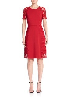 Elie Tahari Hudson Lace Trim A-Line Dress