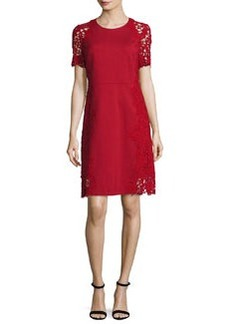 Elie Tahari Hudson Short-Sleeve Lace-Trim Dress