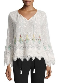 Elie Tahari Imelda Long-Sleeve Embroidered Blouse