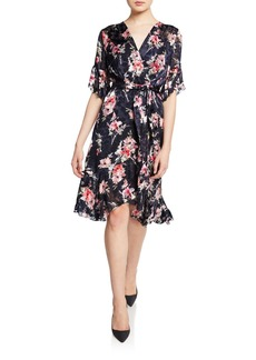 Elie Tahari Isabelle Floral-Print Short-Sleeve Ruffle-Trim Dress