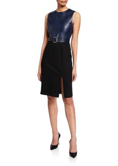 Elie Tahari Isadora Sleeveless Leather Combo Dress w/ Belt