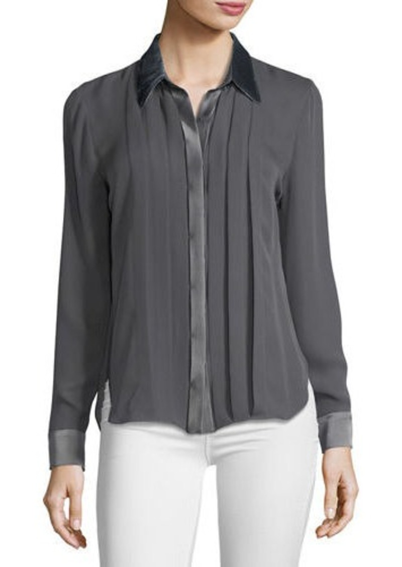7732b20360c9 Elie Tahari Elie Tahari Izarra Long-Sleeve Satin-Trim Silk Blouse ...