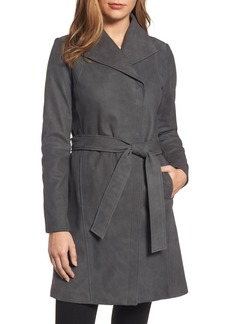 Elie Tahari Jacqueline Belted Leather Trench Coat