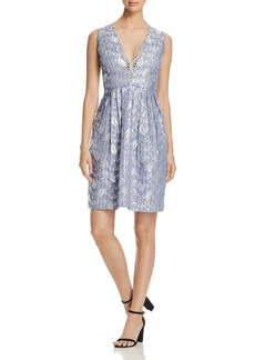 Elie Tahari Jacqueline Metallic Jacquard Dress