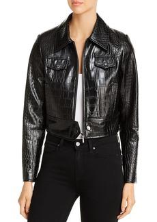 Elie Tahari Jagger Croc-Embossed Faux-Leather Jacket