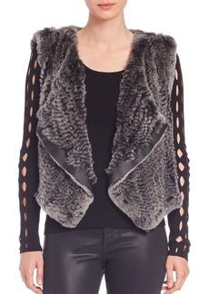 Elie Tahari Jana Rabbit Fur Draped Vest