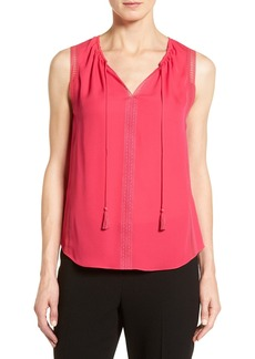 Elie Tahari 'Jandra' Lace Trim Split Neck Silk Blouse