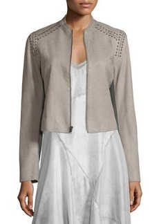 Elie Tahari Janet Lace-Up Leather Jacket