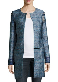 Elie Tahari Jaya Embellished Brocade Topper Coat