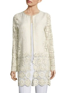 Elie Tahari Jaya Metallic Brocade & Lace Jacket