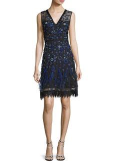 Elie Tahari Jayla V-Neck Floral Layered Dress