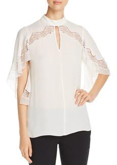 Elie Tahari Jaylah Lace Inset Silk Blouse