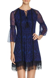 Elie Tahari Jeannie Lace Trim Silk Dress
