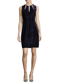 Elie Tahari Jemra Sleeveless Velvet Sheath Dress