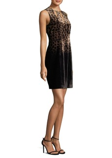 Elie Tahari Jemra Velvet Cheetah Sheath Dress