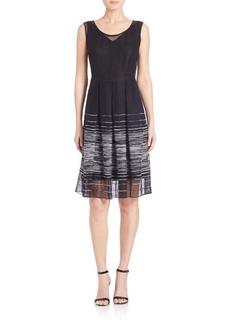 Elie Tahari Jessy Striped Mesh Dress