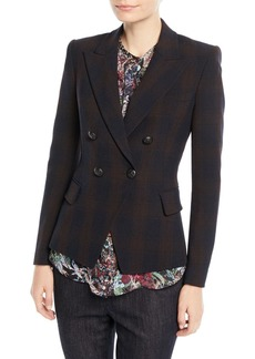 Elie Tahari Jezebel Double-Breasted Plaid Jacket