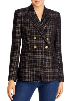 Elie Tahari Jezebel Metallic Plaid Blazer