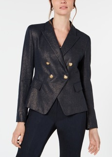 Elie Tahari Jezebel Metallic-Threaded Double-Breasted Blazer