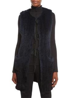 Elie Tahari Jill Long Ribbon-Tie Rabbit Fur Vest