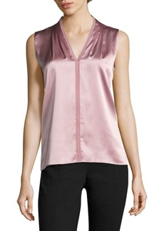 Elie Tahari Joelle Lace-Trim Stretch-Silk Blouse