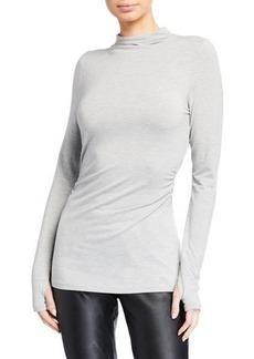 Elie Tahari Johana High-Neck Long-Sleeve Knit T-Shirt