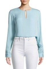 Elie Tahari Jolene Pleated-Front Silk Blouse