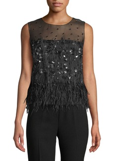 Elie Tahari Joselyn Feather-Trim Blouse